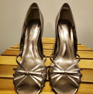 Aldo metallic bow heels